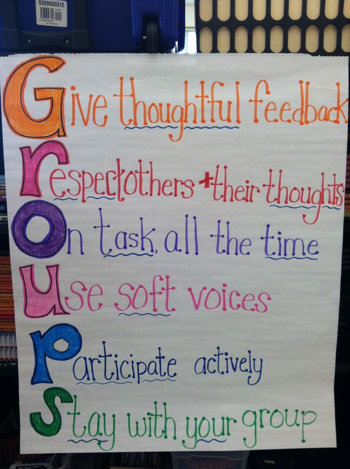 Teaching With a Mountain View: GROUPS Acronym | Anchor Charts   ... for Classroom Decoration Charts For High School  76uhy