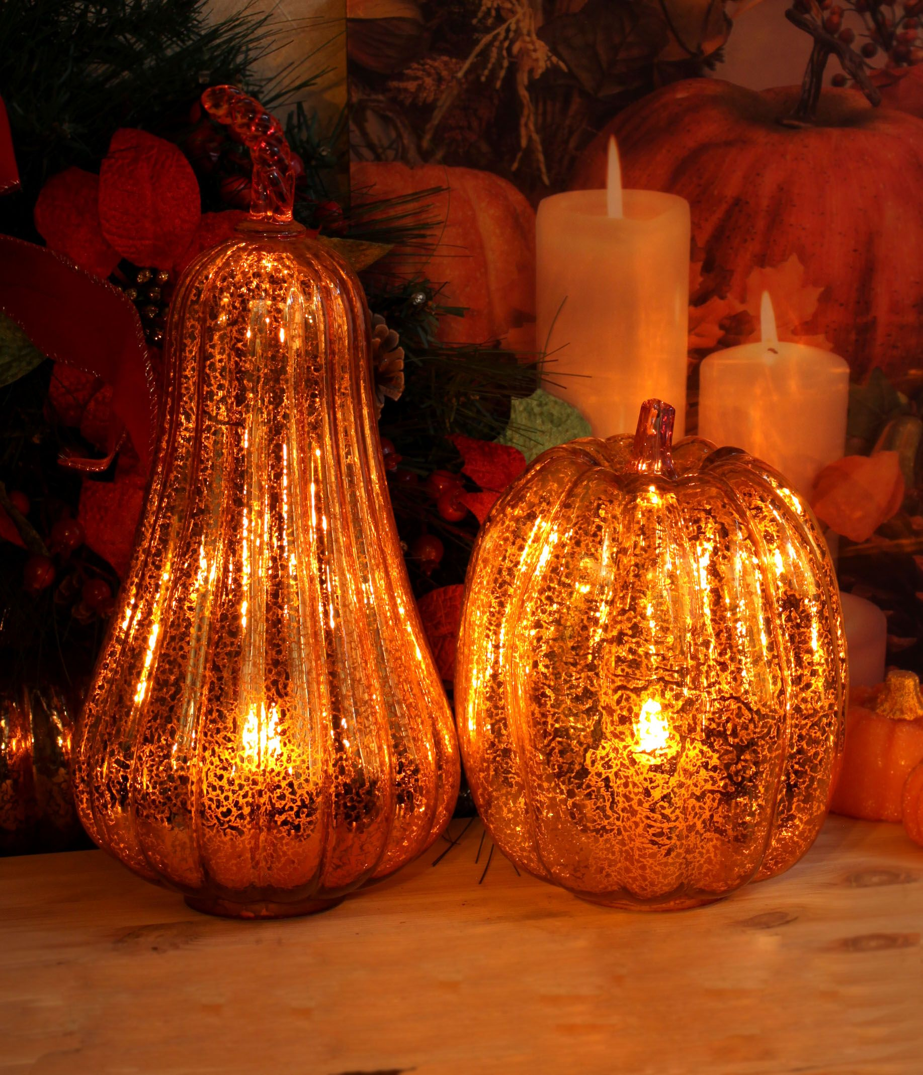 Harvest Glass Gourd Led Light Lantern,halloween