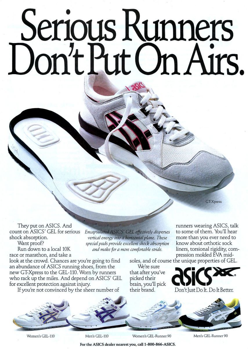 the best attitude 2f540 79438 Vintage Ad Asics Running 1990