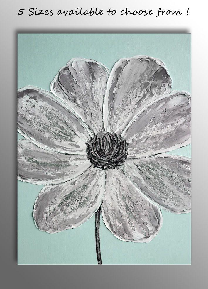 Large Grey Flower Impasto Picture Zen Canvas Wall Art Print Duck Egg