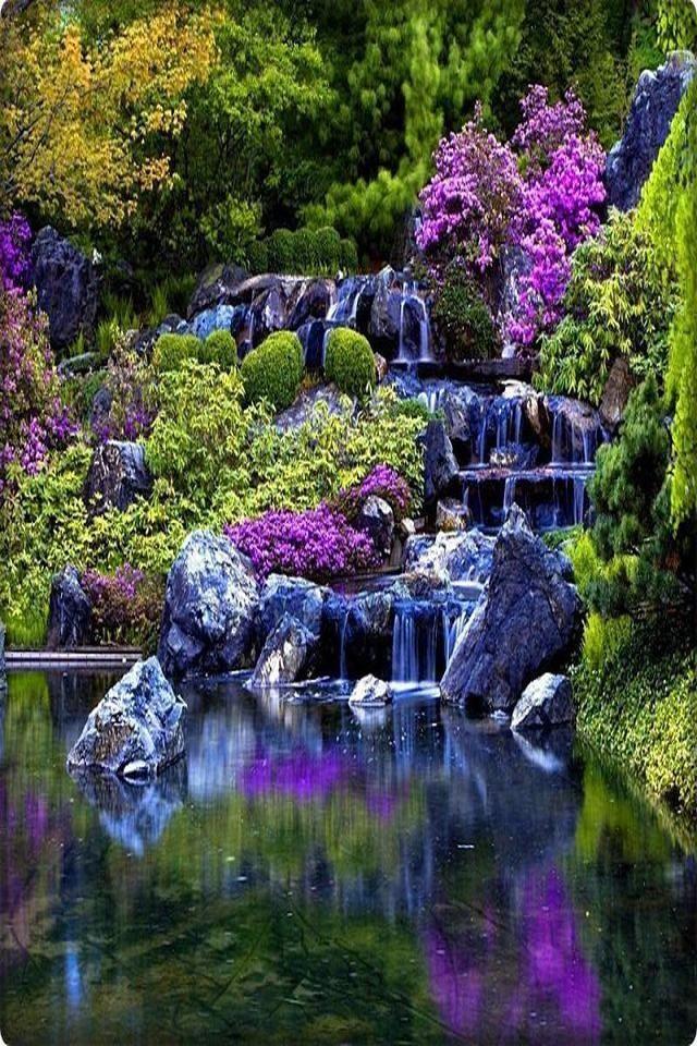 Hermosa Cascada Beautiful Waterfall Paisajes Landscapes Scenery Flores Moradas Purple Flowers Naturaleza Cascadas Bonitas Hermosos Paisajes Cascadas