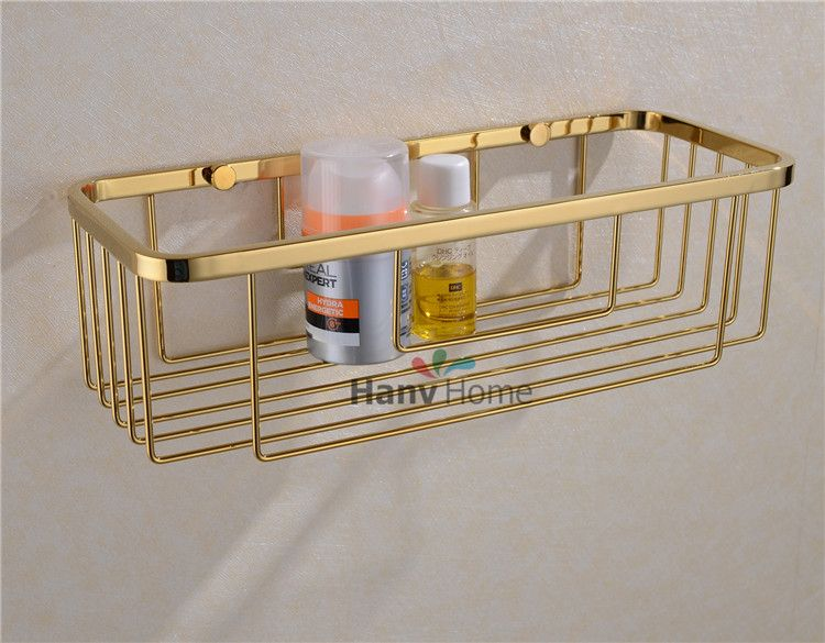 Bathroom Accessories Stainless Steel Gold Wire Shelf Bracket Shelf Basket Storage Bathroom Shower Caddy Shelf Baskets Storage Basket Shelves Shower Caddy