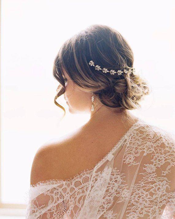 Silver Bendable Pearl Crystal Bridal Vine Wedding Headband Hair Accessories XS