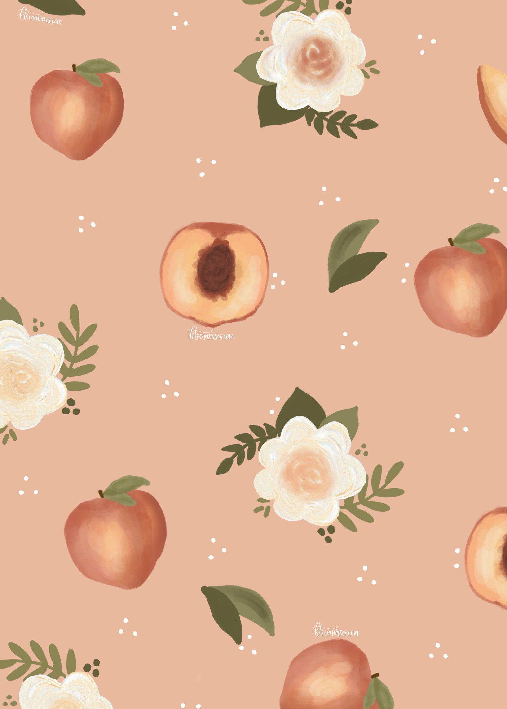 Floral Peach Art Print Peach Print Summer Wall Art Nursery Wall Art Nursery Decor Gift For Her Nursery Print Peaches Peach Wallpaper Peach Art Wallpaper Iphone Summer