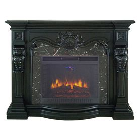 FEBO FLAME 62-in W 5,120-BTU Black Wood and Metal Fan-Forced Electric Fireplace…