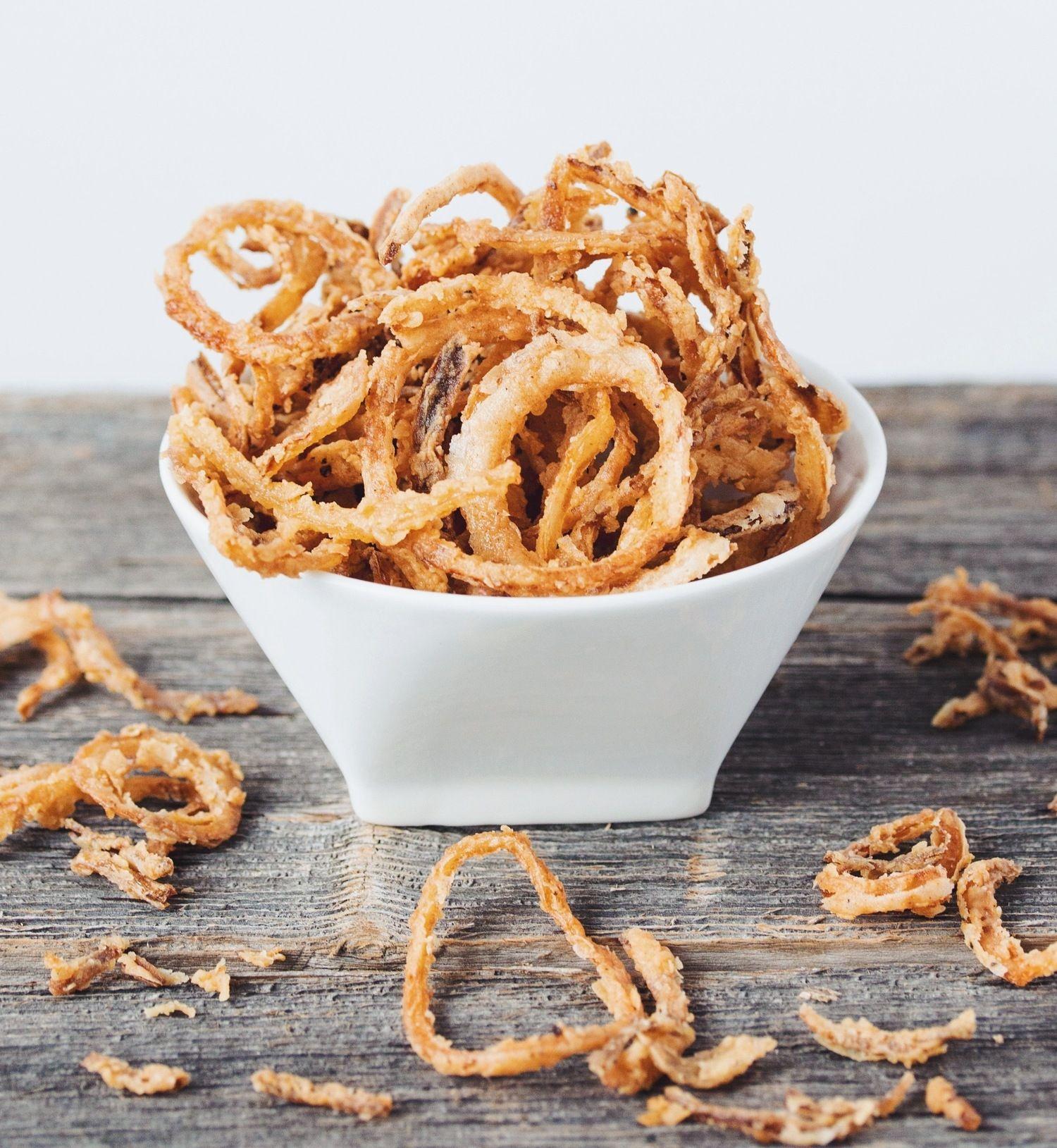 Crispy Onion Strings Hot For Food By Lauren Toyota Recipe Crispy Onions Onion Strings Onion Recipes