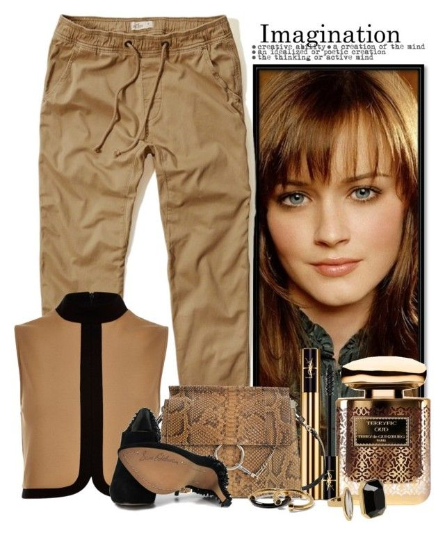 """""""Monocromatico"""" by anakaren-silva ❤ liked on Polyvore featuring Hollister Co., River Island, By Terry, Yves Saint Laurent, Chloé, Marc by Marc Jacobs and Sam Edelman"""