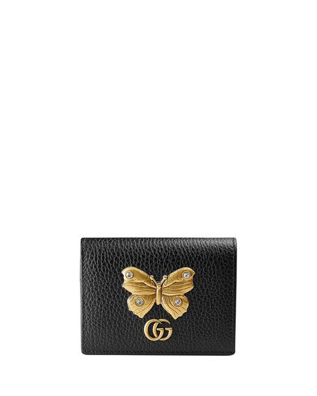 c6c8bf77d1477b Linea Farfalla Leather Card Case with Butterfly by Gucci at Neiman Marcus