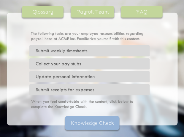 sample elearning quiz - Google Search | elearning knowledge check ...