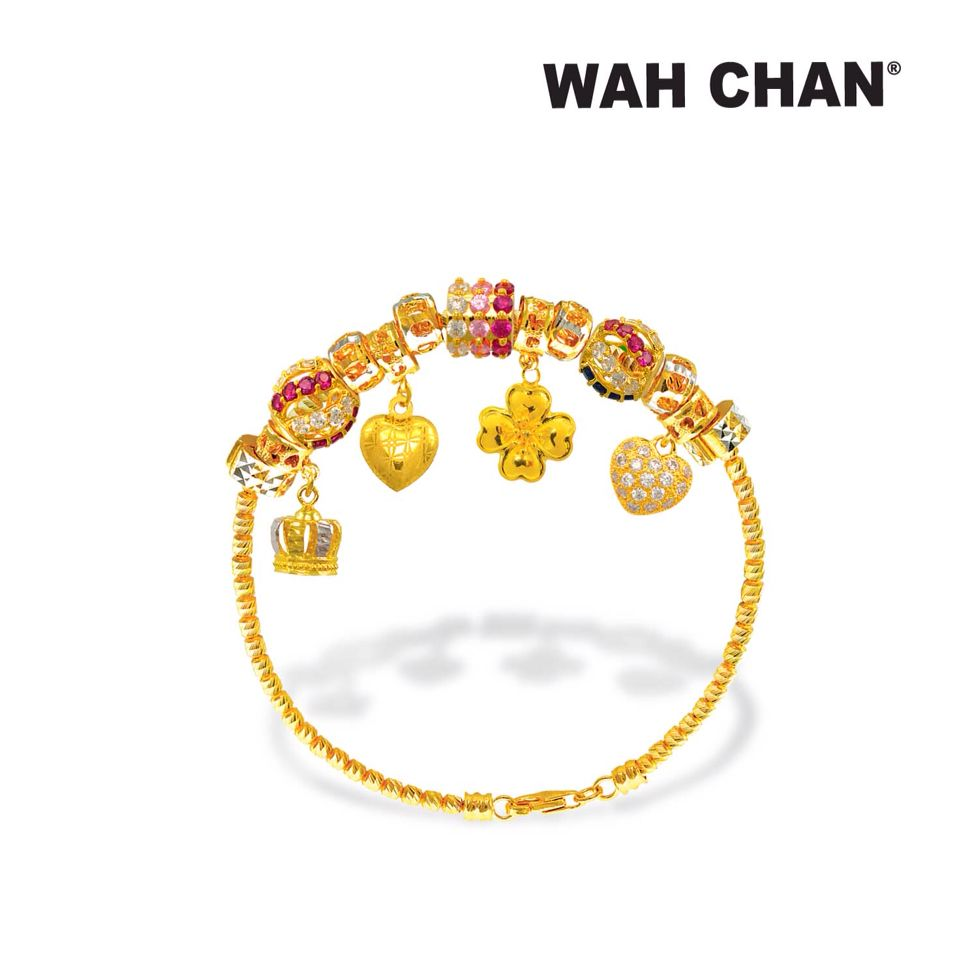 Overflowing Happiness Features A Trendy 916 Gold Charms Bracelets
