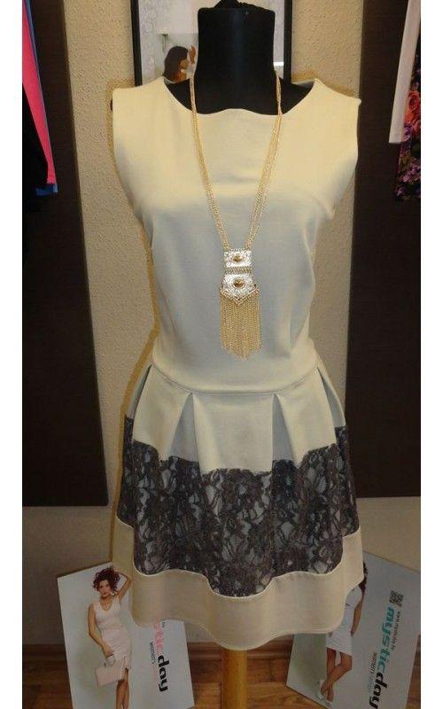 3c29e9d8d2 Envy bézs fodros ruha csipkével | envy fashion | Fashion, Tops és Peplum