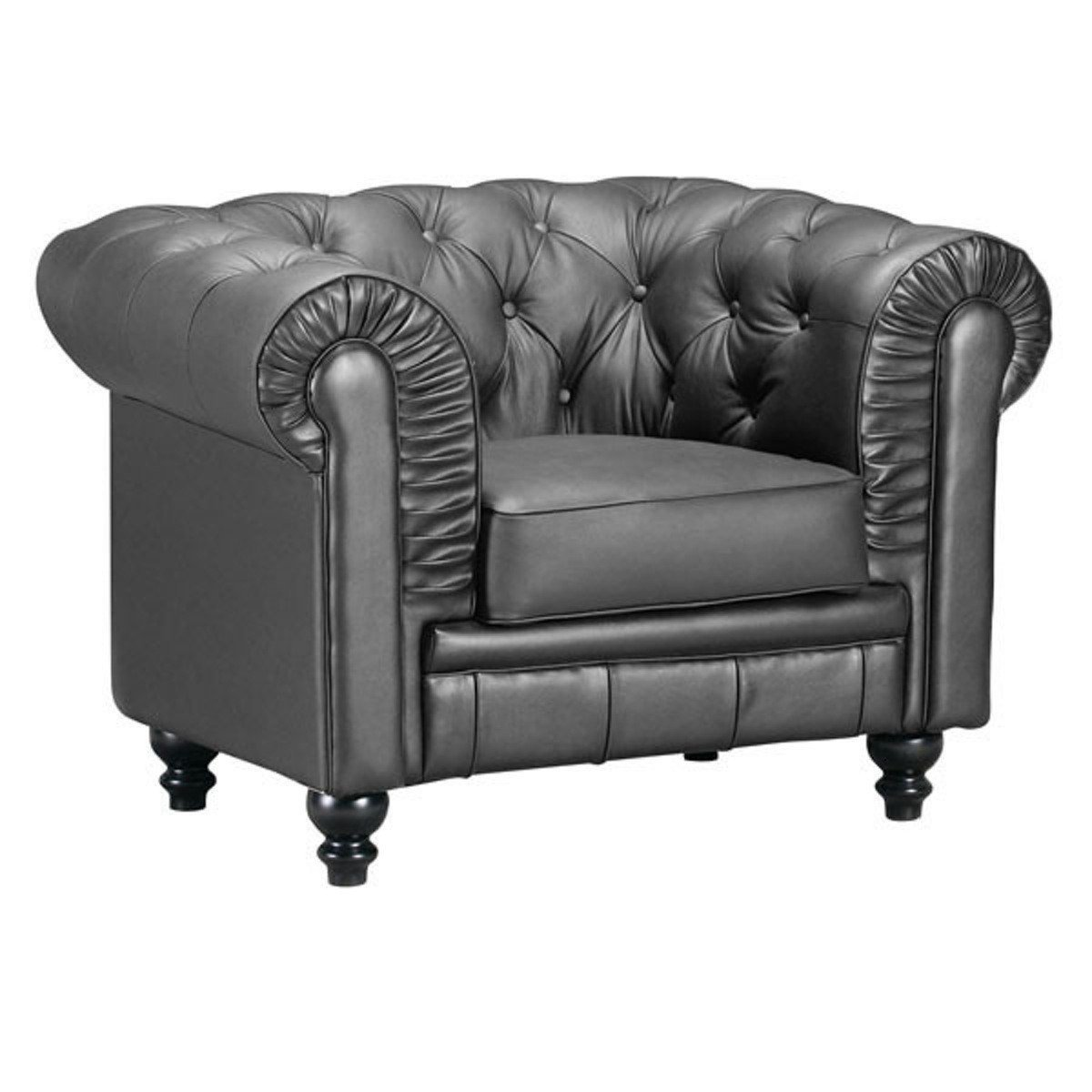 Silver Leatherette Aristocrat Armchair: Zuo Modern Aristocrat Arm Chair Black