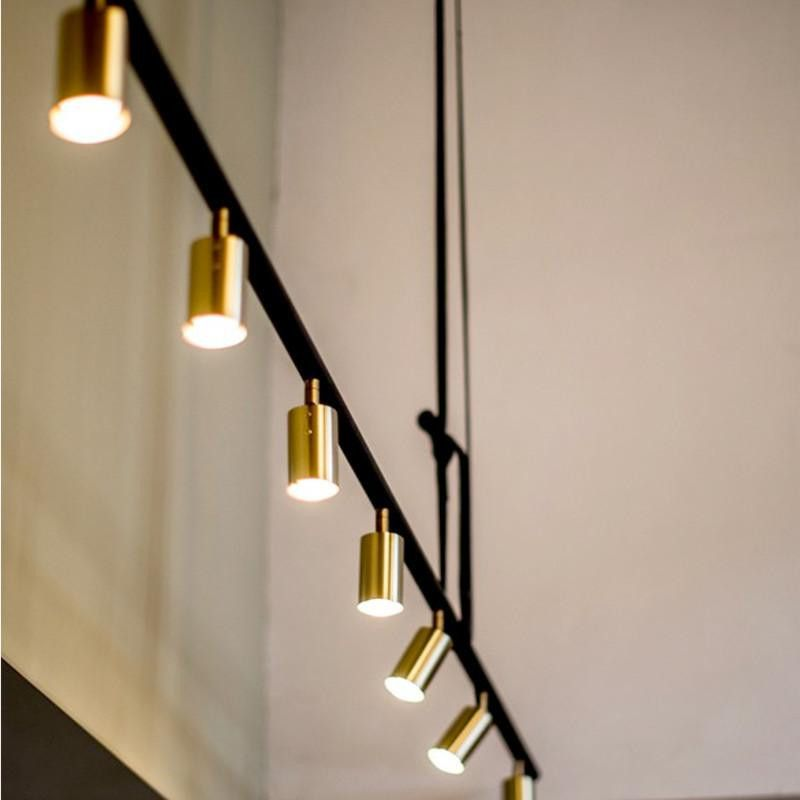 Rubn Long John 7 Pendant Lighting Gold Br In