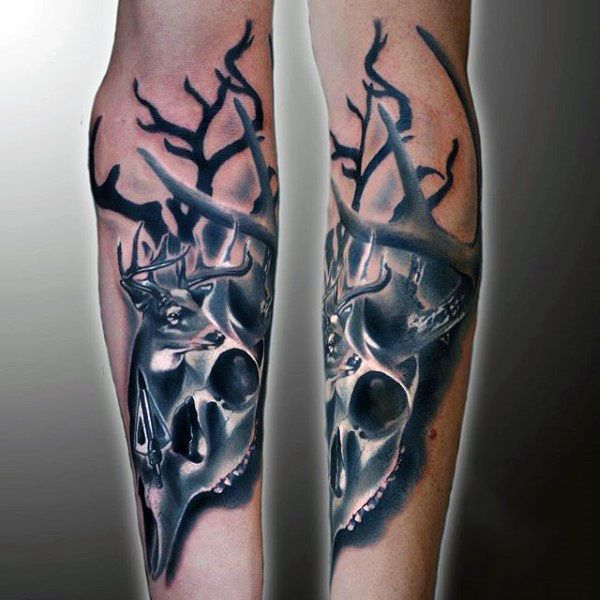 Forearm Deer Skull Tattoo Designs For Guys | Hunting ...