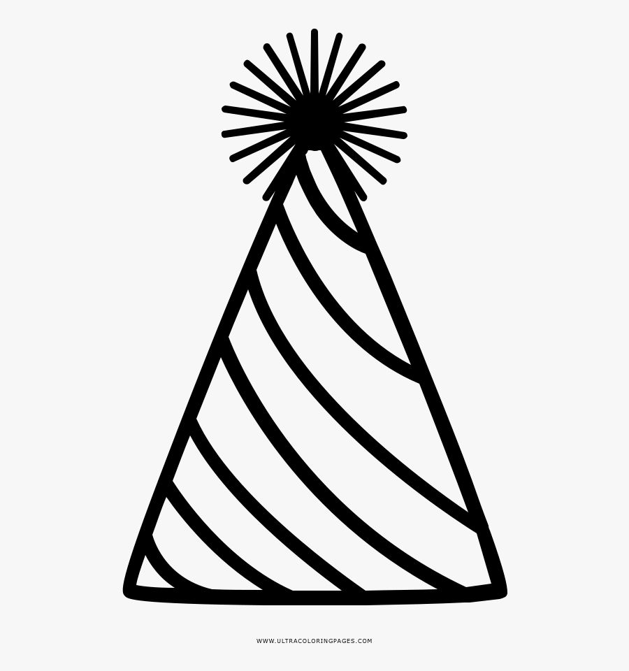 Hat Clipart Black And White Ideas In 2021 Birthday Hat Birthday Coloring Pages Clipart Black And White