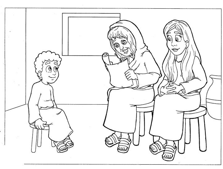 Lois Eunice And Timothy Coloring Page Bible Crafts Preschool