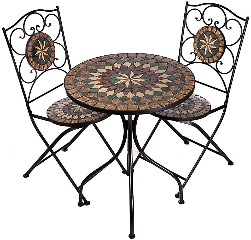 Hochwertiges Aufwendig Gearbeitetes Mosaik Tisch Set Na1514 B33 32