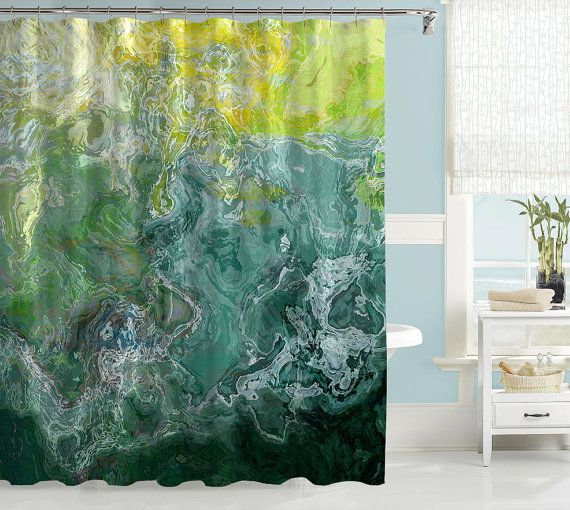 Abstract Shower Curtain Contemporary Bathroom Decor Green Teal Aqua Shower Curtain Contemporary Shower Curtain Water Resistant Shore In 2019 Lavender Shower Curtain Curtains Bathroom