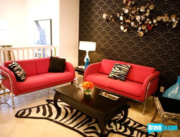 Love the red couches and modern feel!   Living Room Inspiration ...