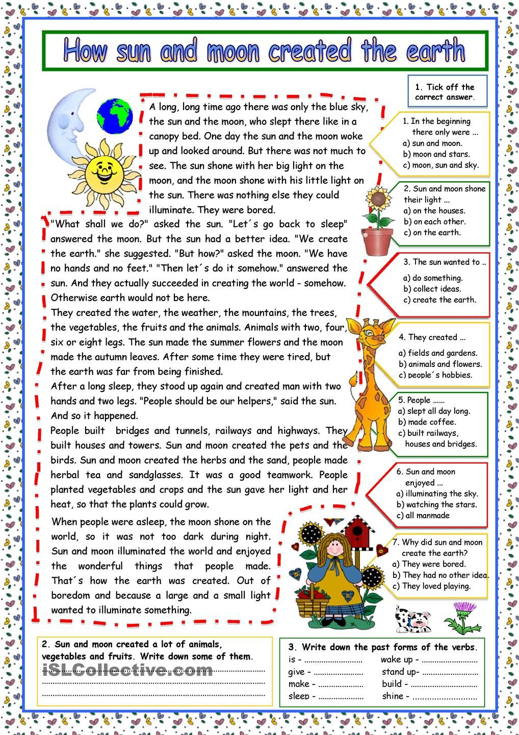 how sun and moon created the earth key english comprehension reading comprehension. Black Bedroom Furniture Sets. Home Design Ideas