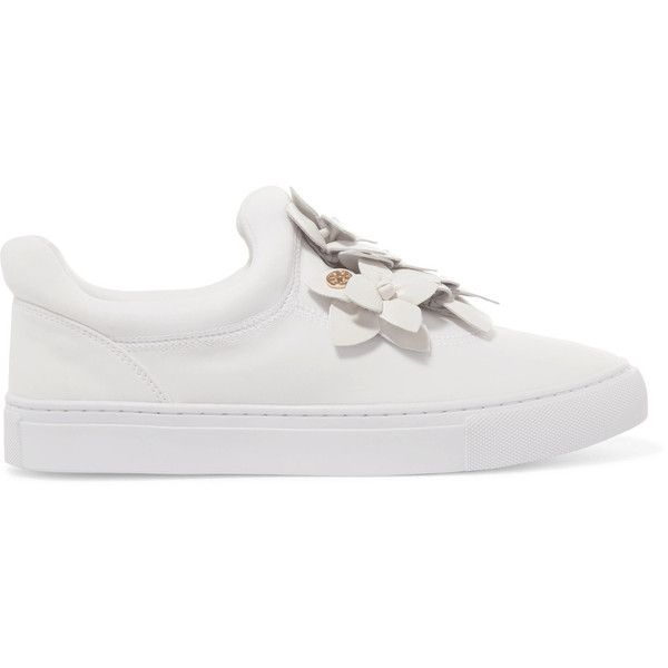 366379e1bb49e Tory Burch Blossom floral-appliquéd leather slip-on sneakers (£250 ...