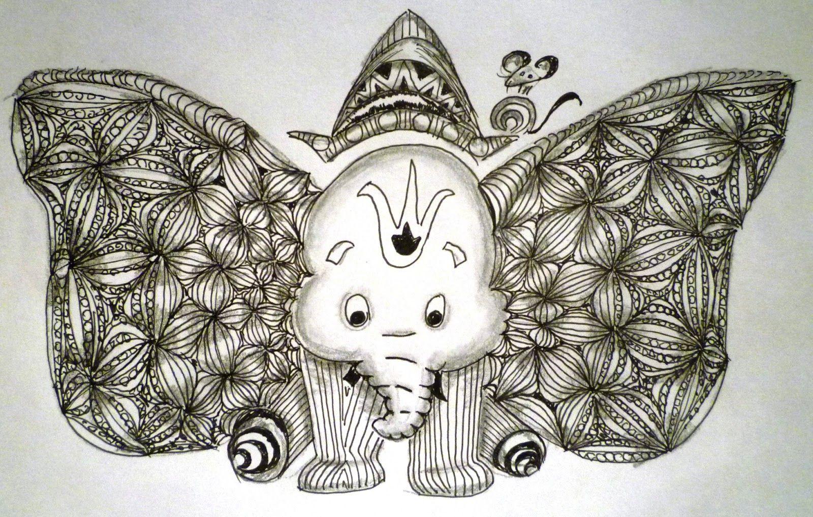 Zentangle Ganesha 75 Dumbo Turns Ganesha Elephant Art