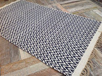 Navy Blue Natural Herringbone Cotton Yarn Rug 90cm X 150cm