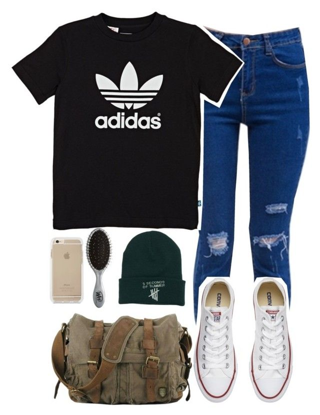 """Adidas"" by daltonsprincess ❤ liked on Polyvore featuring adidas Originals, Converse and The Wet Brush"