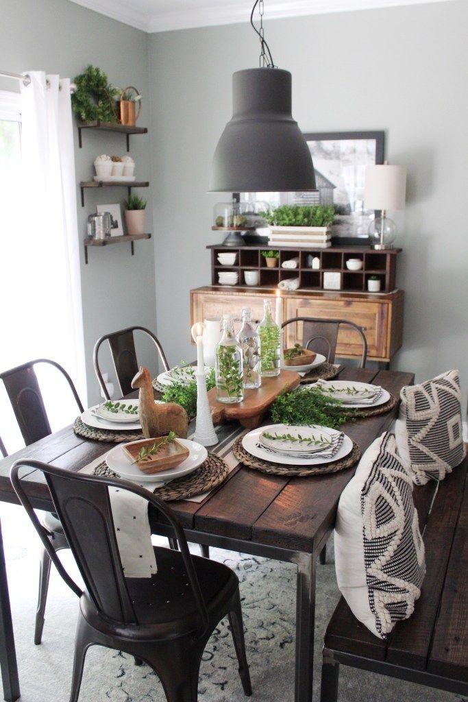 Industrial Farmhouse Dining Table - Robyn's Southern Nest #farmhouse #homedecor #diningtable #industrialfarmhouse