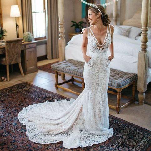 Mermaid Deep V-Neck Beach Wedding Dress,Sleeveless Ruched Lace Bridal Dress,Backless Long Wedding Gown,W27