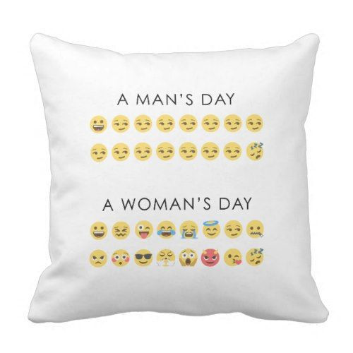 Funny Man's day and Woman's day emoji emotions Throw Pillow | Zazzle.com