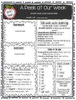 McGraw-Hill Reading Wonders EDITABLE First Grade Weekly