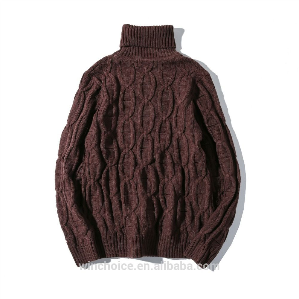 2017 Fashion Heavy Cable Turtleneck Pullover Men Knit Sweater For ...