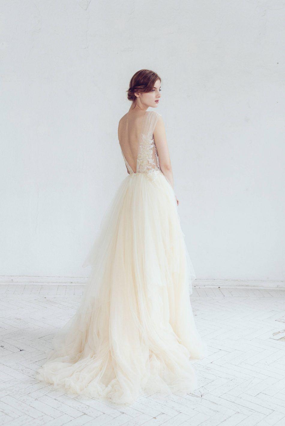 Champagne & Ivory Tulle Wedding Dress
