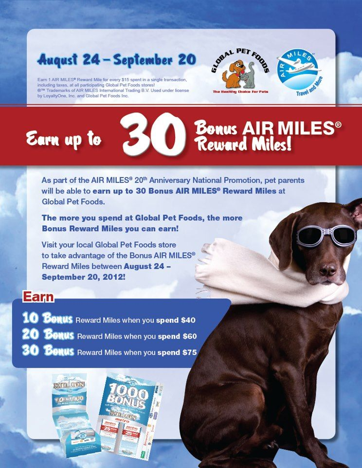 Bonus Air Miles! Earn up to 30 Bonus Air Miles at all