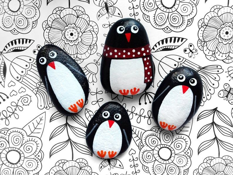 Family Penguin Painted Stones Set, Hand Painted St