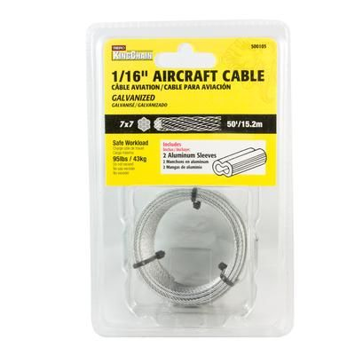 Kingchain 1 16 7x7 Aircraft Cable Galv 50 Ft Home Depot Canada Galvanized Cable Aircraft