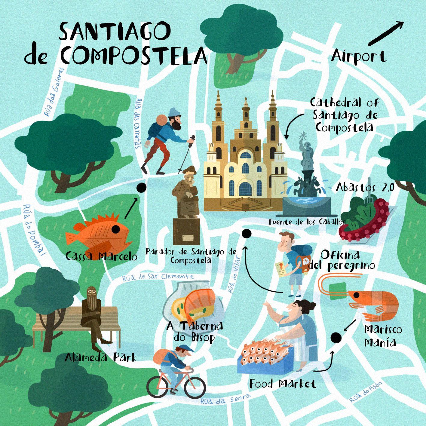 Steve McCarthy Map of Santiago de Compostela Carte illustre de