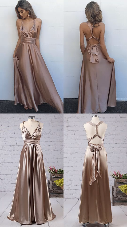 0ec748151 2019 Long Prom Dresses for Teenagers, A-line Prom Dresses Elegant, Sexy  Prom Dresses Open Back, V-neck Prom Dresses Ankle-length #FansFavs  #openbackdresses ...