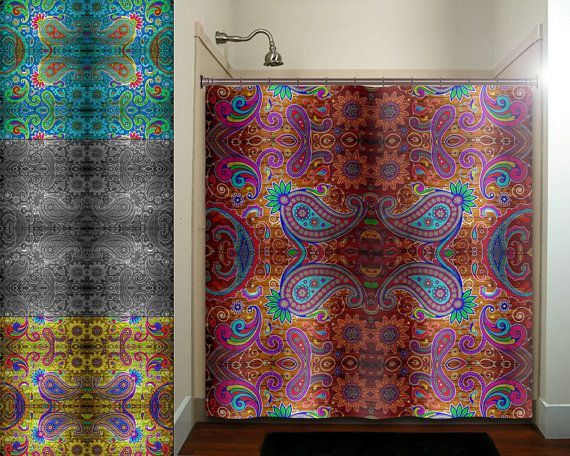 paisley gypsy hippie bohemian art tapestry shower curtain bathroom ...