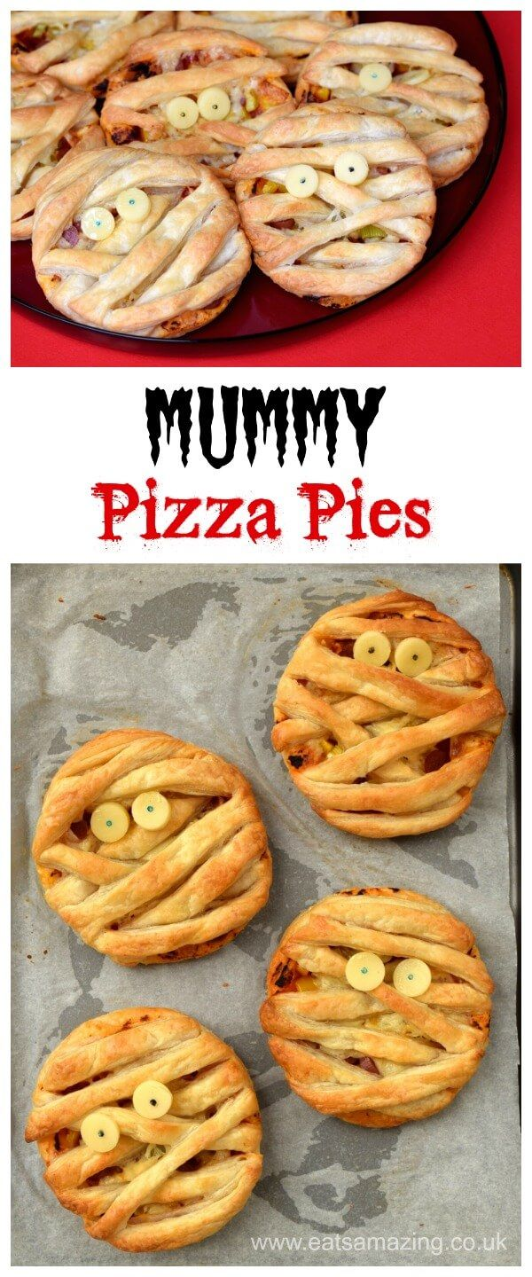 easy mummy puff pastry pizza pies recipe - fun halloween food for