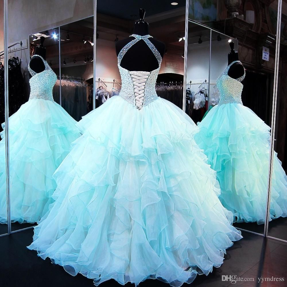 Aqua quinceanera dresses modest masquerade ball gown prom dress