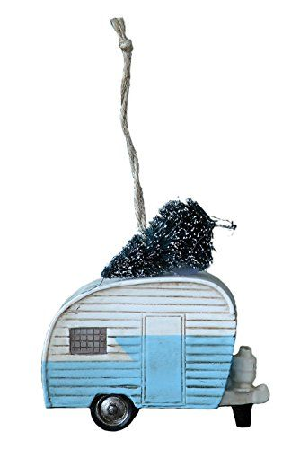 35 Polyresin Camper with Christmas Tree Ornament Blue ...