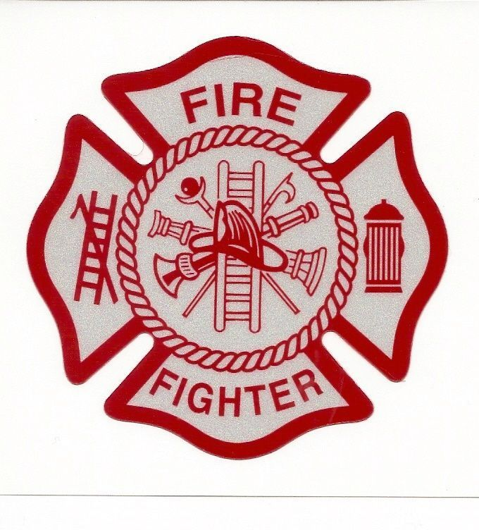 White Red Reflective Vinyl Decal Fire Dept Maltese Cross Firefighter Sticker Maltese Cross Firefighter Volunteer Fire Department Fireman Quilt