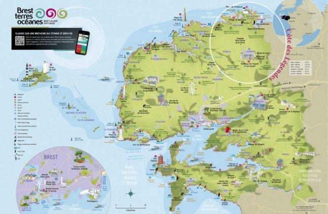 Carte touristique Brest Terres Océanes | roadtrip bretagne