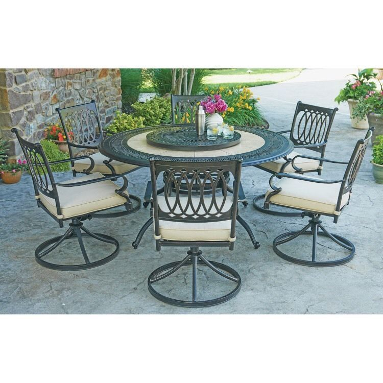 Patio Furniture Set Dining Outdoor 60 Round Table 6 Rocker Swivel Chairs Seats