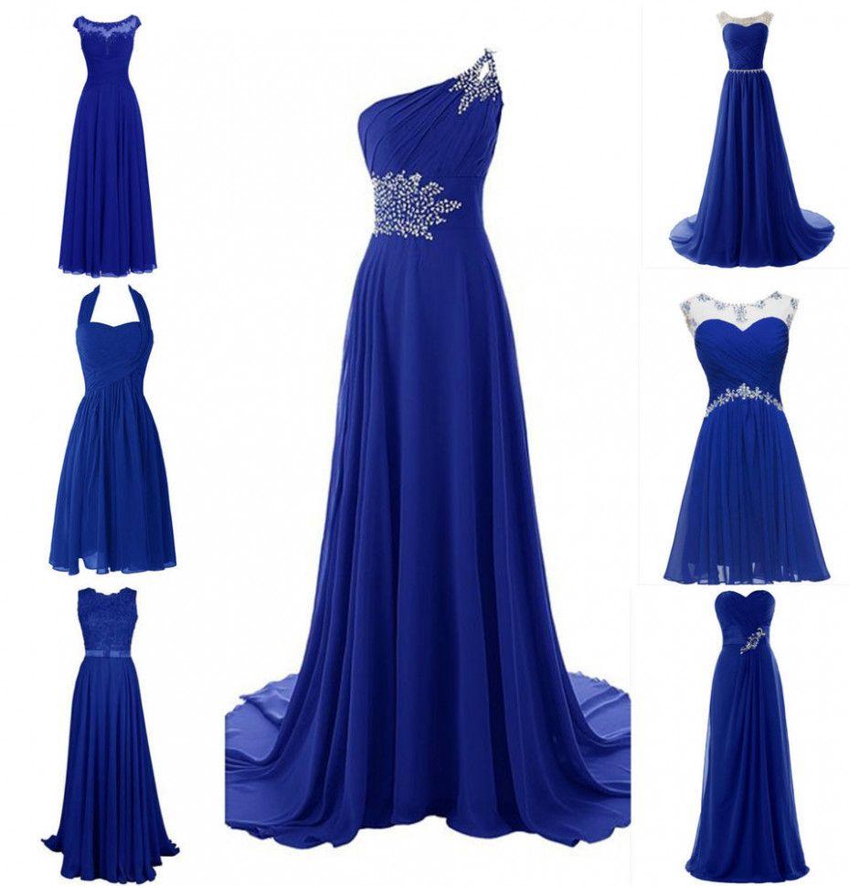 New Royal Blue Plus Size Chiffon Wedding Bridesmaid Dress Evening Formal Gown Ebay Royal Blue Bridesmaid Dresses Blue Wedding Dresses Purple Bridesmaid Dresses