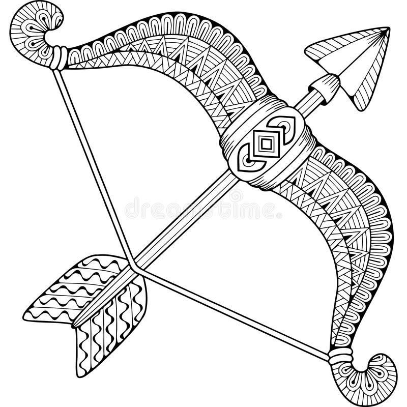 Photo About Silhouette Of Arrows And Bow Isolated On White Background Zodiac Sign Sagittarius Abstract Backg Coloring Books Canvas Drawing Mandala Art Lesson