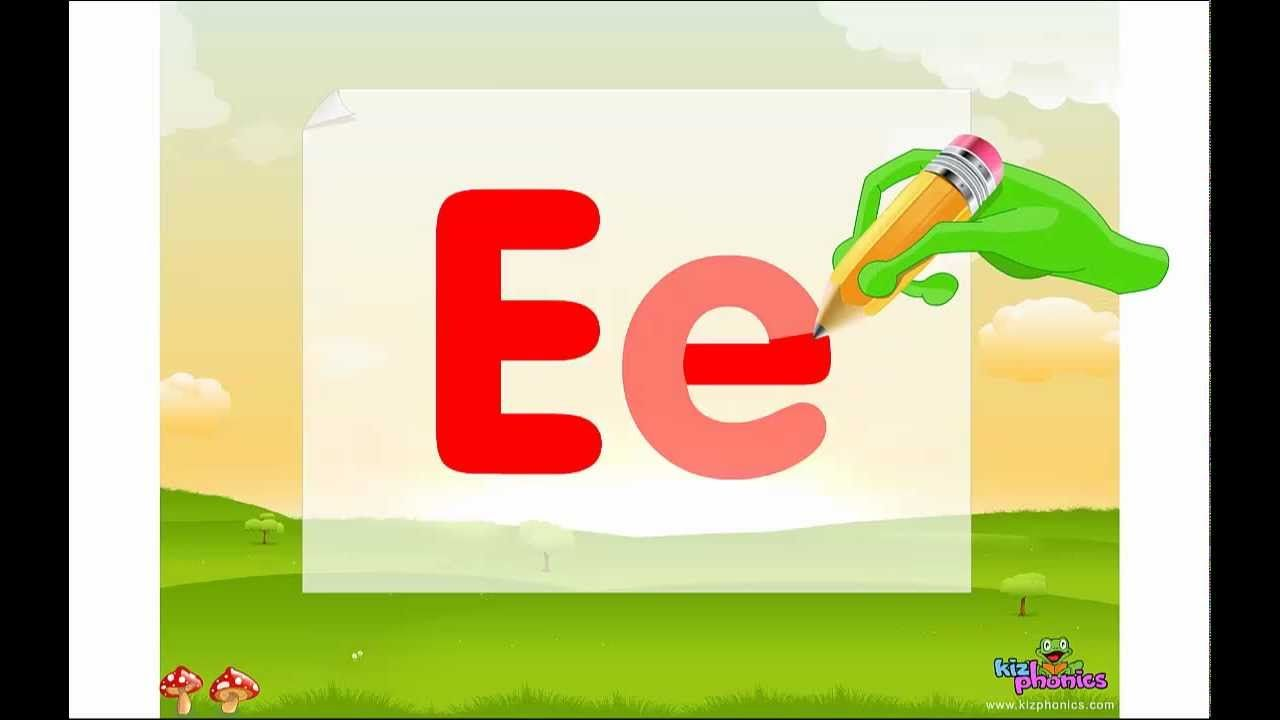Letter ee song learn short e sound shows how to write