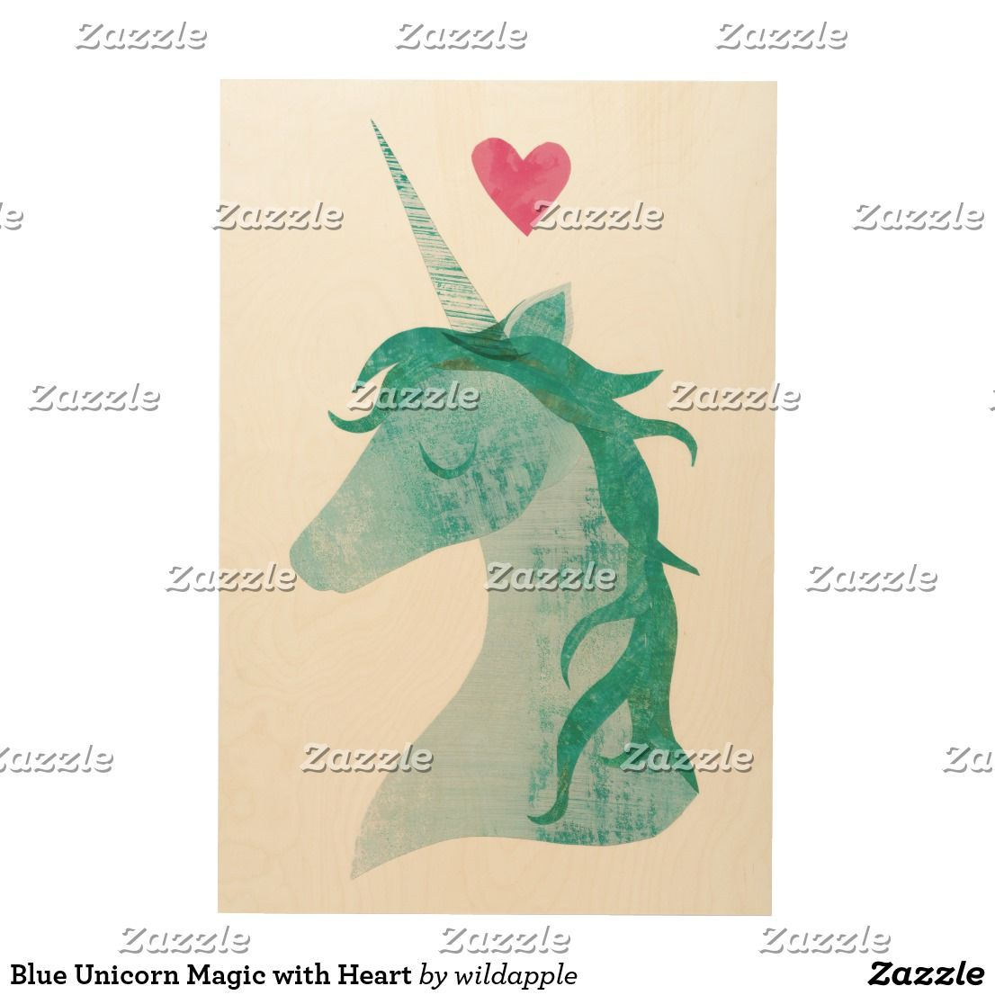 Blue unicorn magic with heart wood wall art unicorn artwork